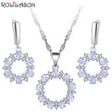 Roilason белый овальный кристалл набор серьги/ожерелье/кулон/простой
