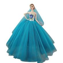 NK One Pcs 2020 Neueste Puppe Spitze Mode Hochzeit Kleid Prinzessin Kleid Für Barbie Puppe Zubehör Baby Spielzeug Beste Geschenk 071E