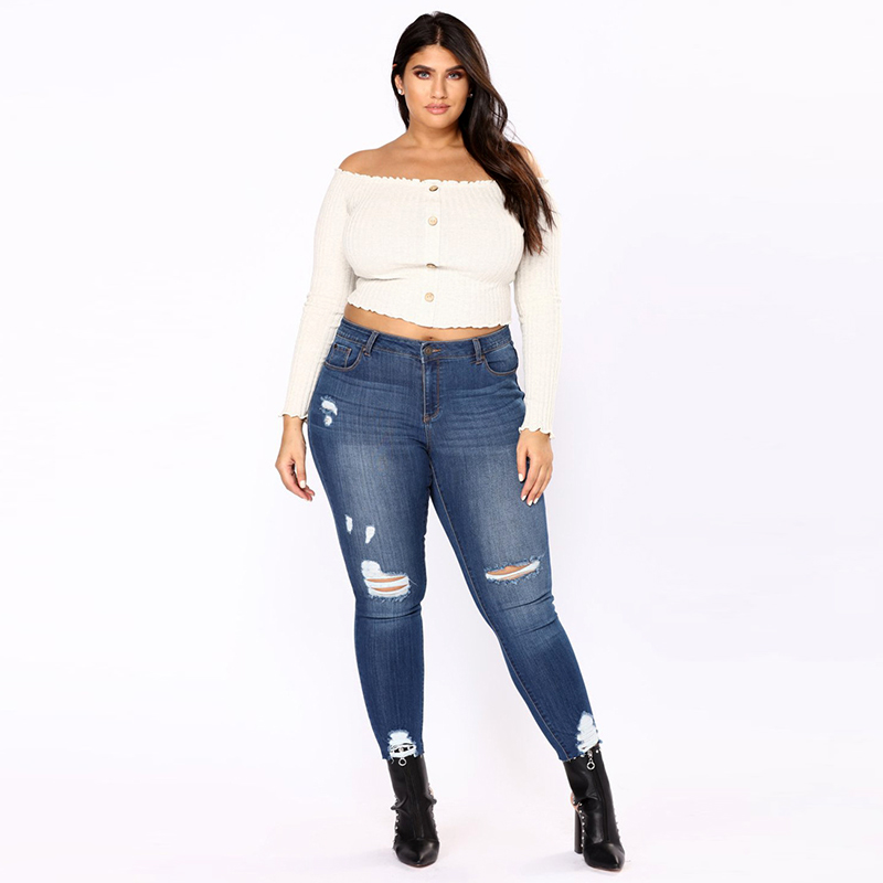 YOFEAI New Plus Size 2XL-7XL   Jeans   Women Fashion Ripped   Jeans   For Women Sexy Slim Skinny Women Pencil Pant Slim Big Size