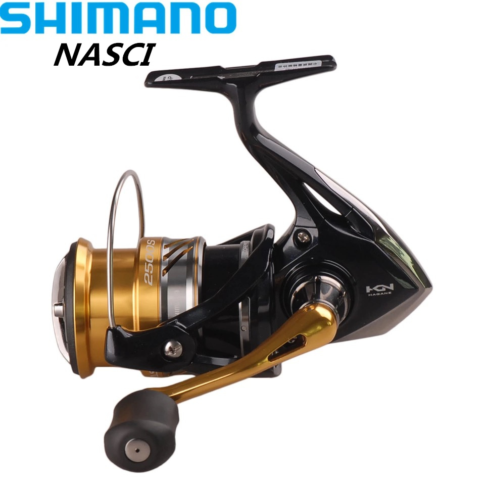 Shimano NASCI1000/C2000HGS/2500HGS Spinning Fishing Reel 4+1BB/6.2:1 Hagane Gear X-Ship Saltwater Lure Reels Moulinet Peche Coil elegant cap sleeve round neck flower embellished houndstooth fishtail dress for women