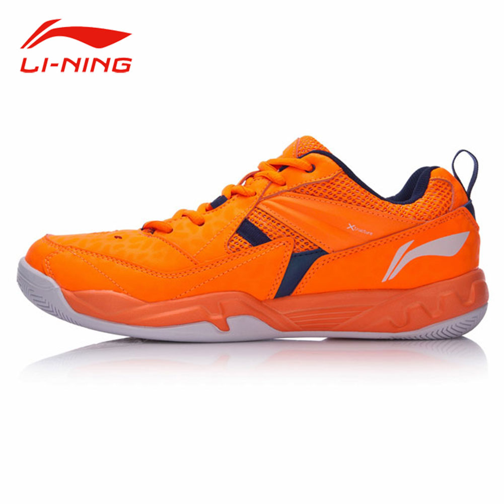 Li-Ning Men Anti-Slip Badminton Training Shoes Contrast Color Stylish Sneakers Li Ning Breathable Support Sports Shoes AYTM079 li ning men shoes kason professional badminton shoes training shoes breathable sneakers cushion li ning sports shoes fyzh031