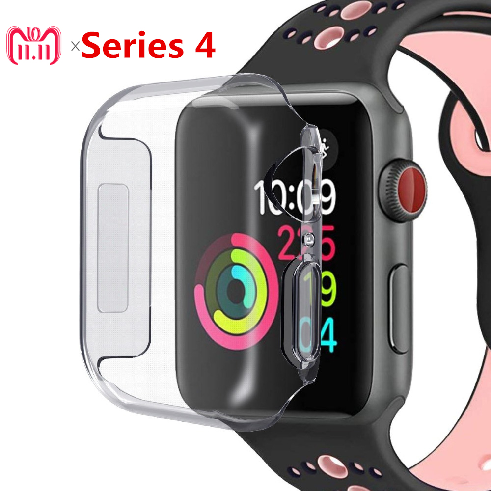 все цены на EIMO silicone soft Full case For apple watch band 44mm 40mm 42mm/38mm iwatch series 4 3 2 1 All-around Ultra-thin Clear frame онлайн