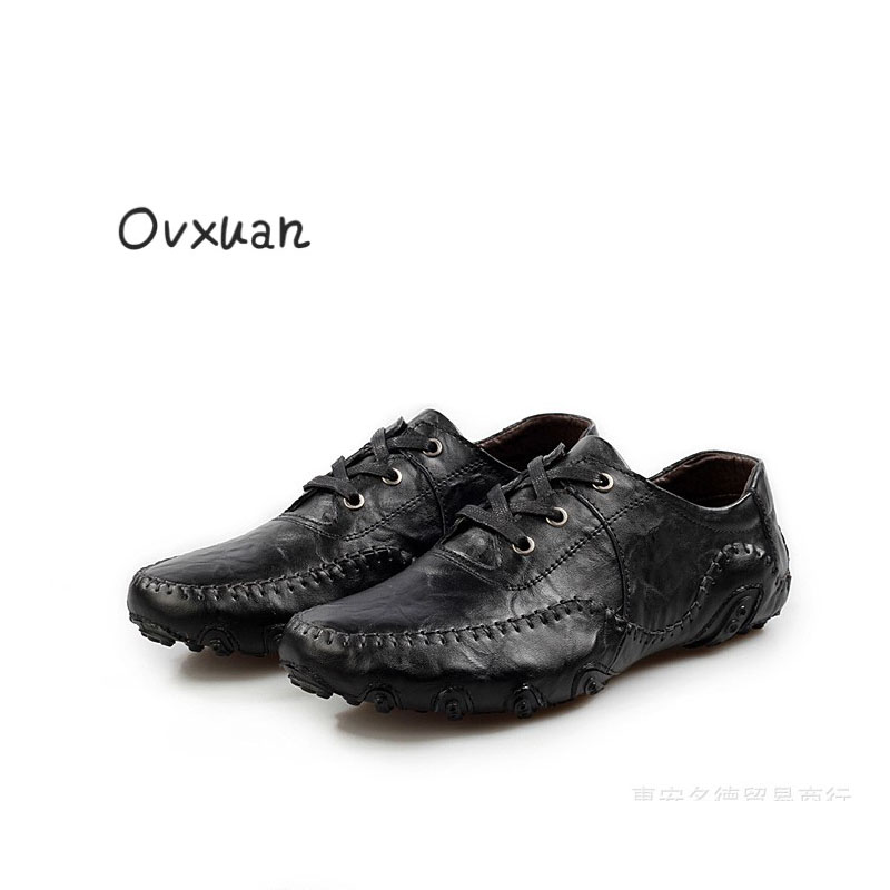 Ovxuan 2018 Men Shoe Luxury Brand Genuine Leather Casual Dress Driving Oxfords Shoes Men Loafers Moccasins Italian Shoes for Men