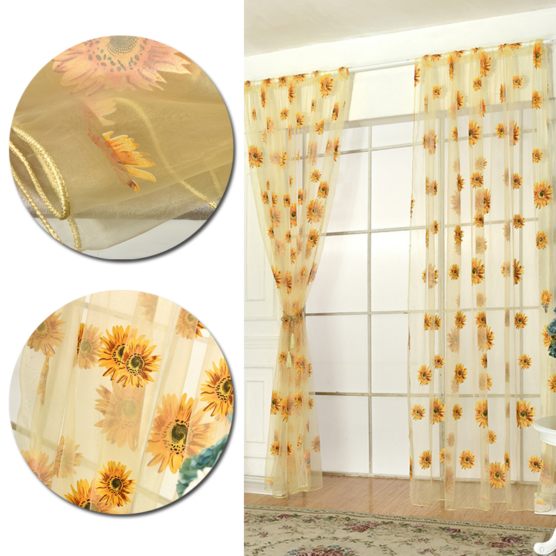 2019 2019 New High Quality Transparent Decoration Sheer Blue Green Living  Room Sunflower Curtains Tulle Perspective Voile Curtain From Fair2015, ...
