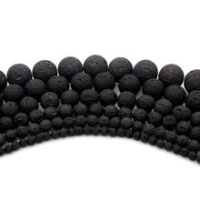 4 6 8 10 12mm Black Volcanic Lava Natural Stone Beads For Jewelry Making Diy Needlework Finding Bracelet Accessories Wholesale(China)