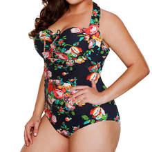 Plus size  women swimsuit one piece swimwear push up print Monokini bathing suit bandeau swimming suit for women Large size 5XL