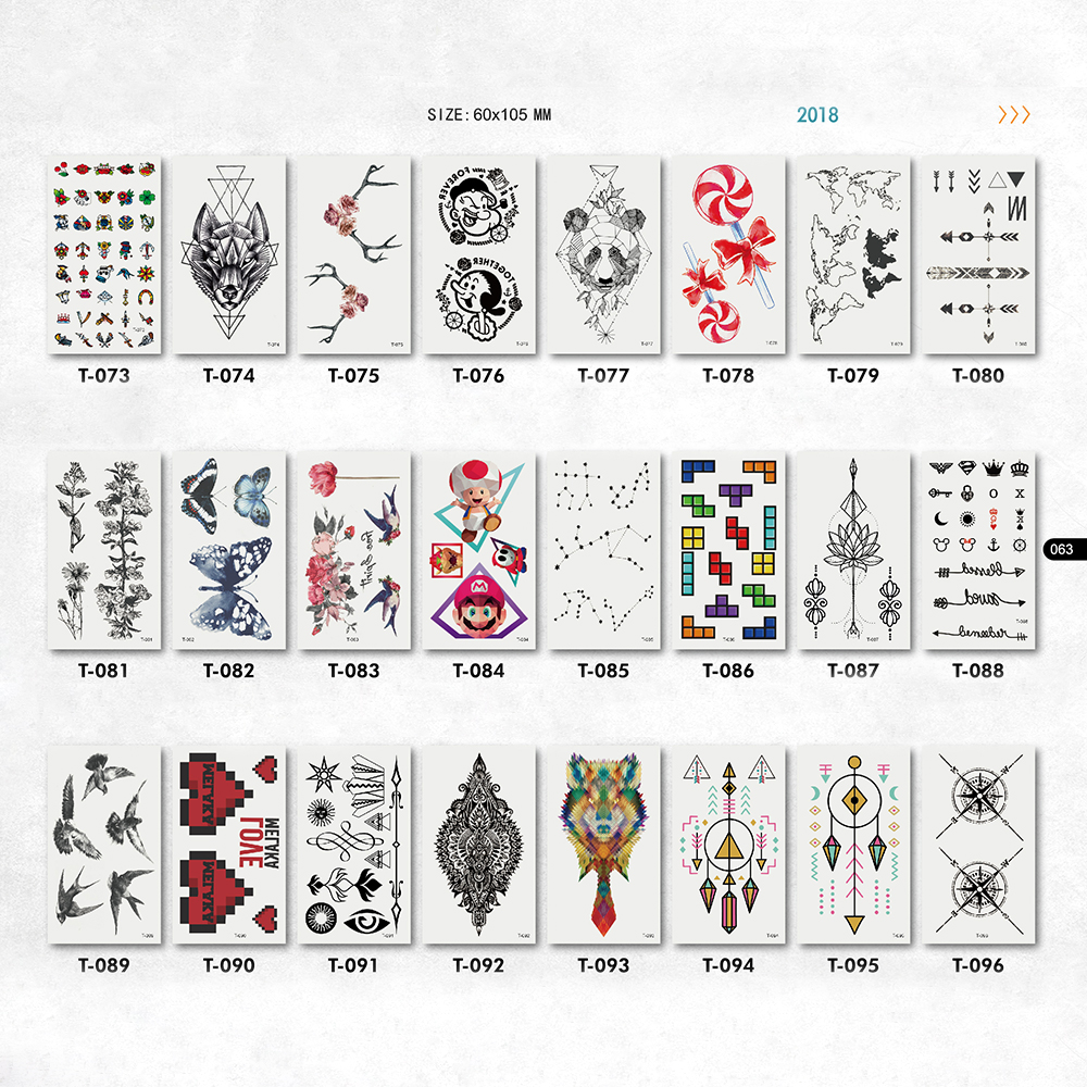 cute game kids tattoos stickers cartoon geometric butterfly patterns neck hand face arm fake tattoos papers for women