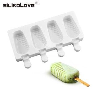 SILIKOLOVE 4 Cavidade Picolé Moldes de Silicone Ice Cream Mold Com Varas De Madeira Livre