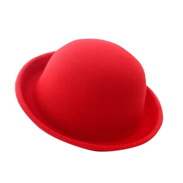 12d113b7a69 Women Fashion Vintage Bowler Top Hats Nice Roll Brim Derby Fedora Dome Cap
