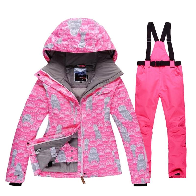 Высокое качество Красный Зимняя одежда женские лыжный костюм комплект  Водонепроницаемый ветрозащитный дышащий Сноубординг костюмы верхн. e3ada8f697e43