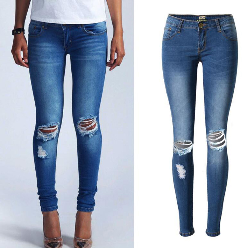 Low Waist Jeans Women Fashion Torn Hole Distressed Ripped Jeans For Women Skinny Pencil Pants Cotton Plus Size jeans femme rosicil new women jeans low waist stretch ankle length slim pencil pants fashion female jeans plus size jeans femme 2017 tsl049
