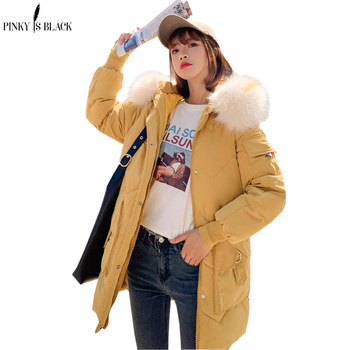 PinkyIsBlack Winter Jacket Women 2019 New Fashion Hooded Fur Female Winter Coat Women Thicken Long Parkas Down Cotton Clothing new large fur down jacket winter women 2020 new fashion loose hooded cotton padded jacket coat female thick long parkas outwear
