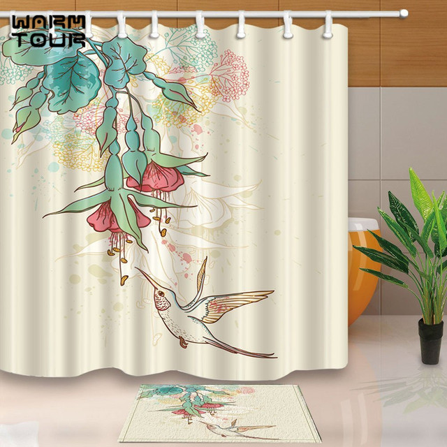 Art Decor Hummingbirds Flying Tropical Flowering Branch180x180cm ...