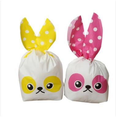 2017 New 50Pcs Cute Rabbit Ear Cookie Bags Gift Bags For Candy Biscuits Snack Baking Package Event Party Supplies Candy Bags Dec