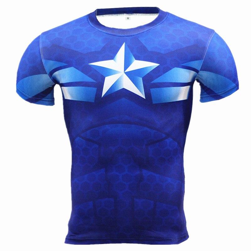 Kaptan Amerika 3D Kas Gömlek Erkekler Slim Fit T Shirt Vücut - Erkek Giyim - Fotoğraf 1