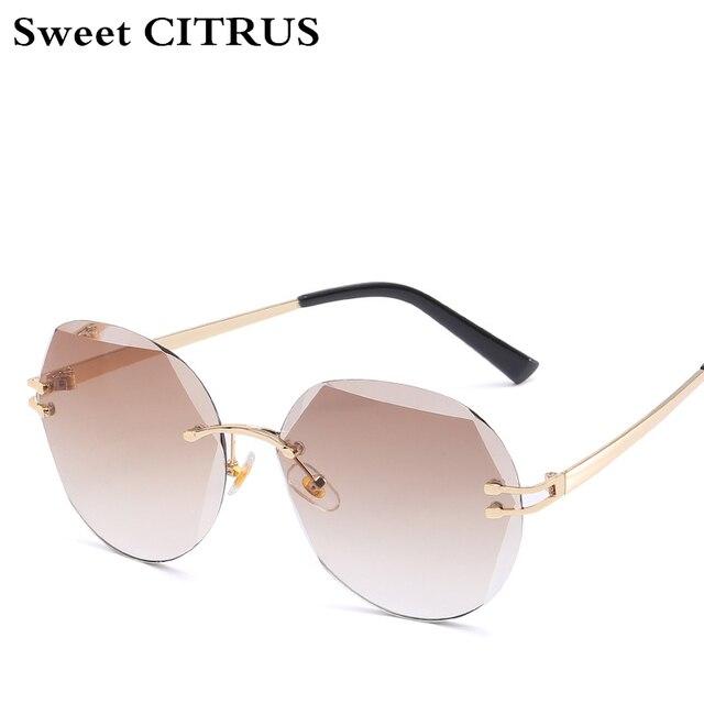 04bea73eb5c0 Sweet CITRUS Rimless Round Retro Sunglasses Women Vintage Brand Designer  Sun glasses 2018 Fashion ocean Gradient