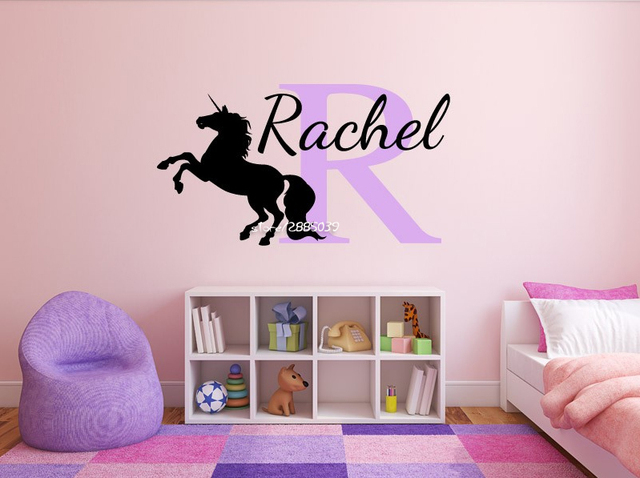 Personalized Girls Unicorn Name Wall Stickers Vinyl Monogram Wall Decal  Home Design Decor Wallpaper Removable Mural