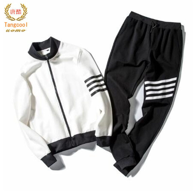 2018 fashion spring new Hoodie + trousers track and field suit mens youth fashion pure color suit 2 piece set