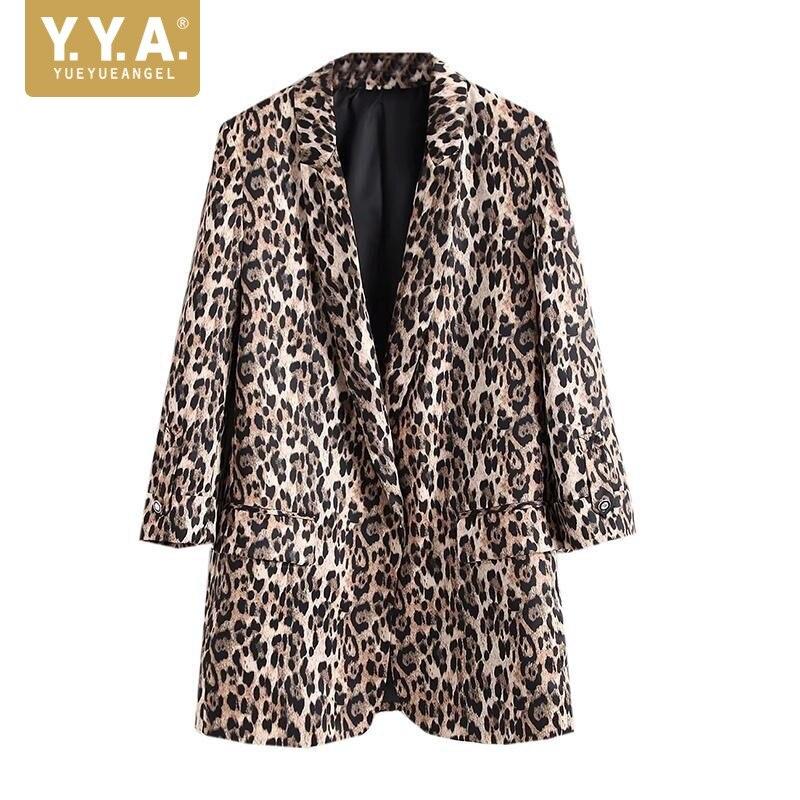 Woman Blazer 2018 European American Style Leopard Print Long Womens Blazer Bleizer Femenino New Design OL Famale Jaket Coats S-L