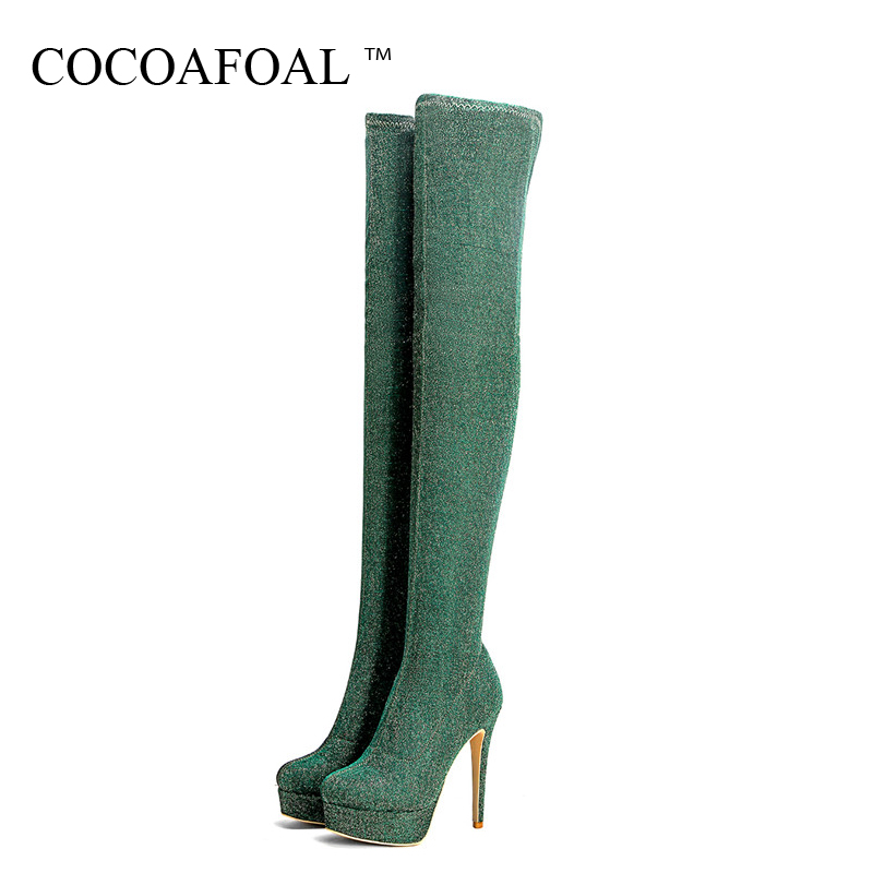 COCOAFOAL Womens Sexy Over The Knee Boots Golden Green Winter Woman High Heel Shoes Plus Size 33 43 Fashion Thigh High Boots