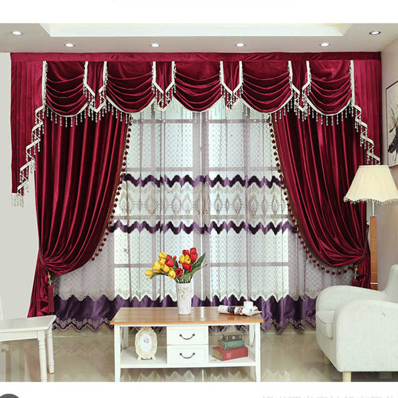 American Style Burgundy Curtains For Living Room Stage Italian Velvet Curtain Hotel Bedroom Window Pelmet Flannel D