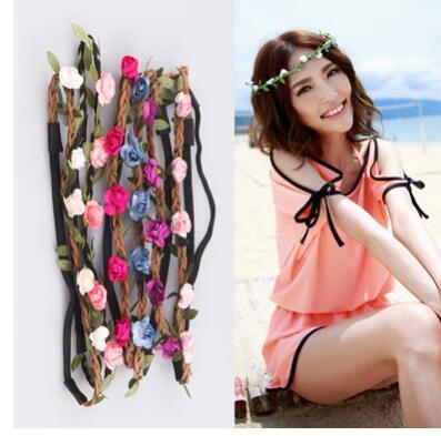 100pcs/lot  free shipping Fashion Flowers Headbands lady flower wreath bride flower headwear  Hair Accessories