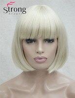 Short Straight Blonde Bob Swept Bangs Full Synthetic Wig