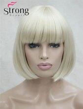 Strongbeauty curto reta loira bob, varrido franja peruca sintética completa