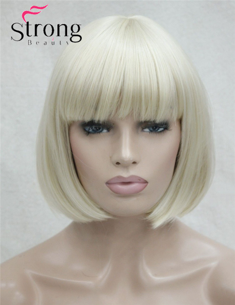 StrongBeauty Short Straight Blonde Bob, Swept Bangs Full Synthetic Wig