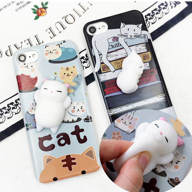 official photos b364f f0a39 US $3.62 8% OFF|3D Cartoon Cute Soft Silicone squishy phone case for iPhone  5s 6s X Cat Cover Case for iPhone On 5s SE 6 6S 8 Plus Phone Cases -in ...