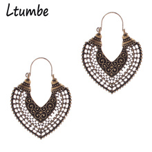 Ltumbe Ethnic Vintage Bohemian Turkish Style Bronze Silver Plated Carved Metal Hollow Heart Hanging Dangle Earrings For Women
