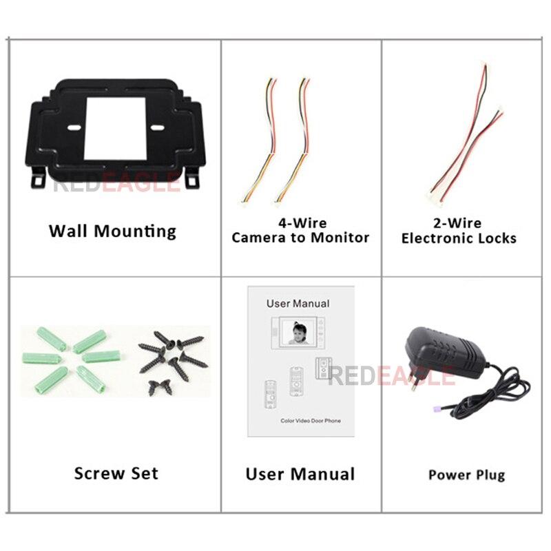 Купить с кэшбэком REDEAGLE Home Security 9 inch Color LCD Monitor Video Door Phone Doorbell Intercom System Wide Angle IR Night Vision Camera