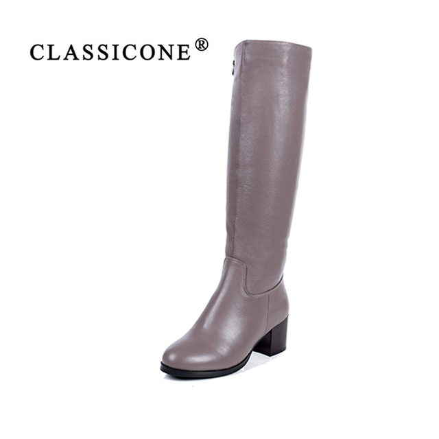 CLASSICONE 2018 shoes woman winter wool snow knee boots genuine leather inside warm brand fashion med heels no slippery style