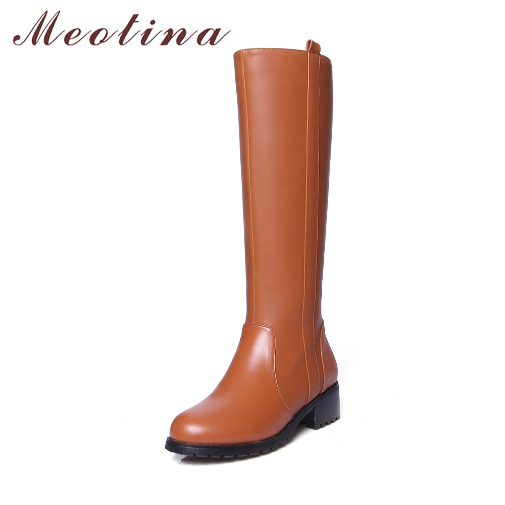 Meotina Genuine Leather Women Boots Riding Mid-Calf Boots Block Med Heel Round Toe Motorcycle Boots Women Fur Warm Winter Shoes new arrival 2016 winter keep warm women boots low heel round toe platform shoes solid genuine leather mid calf boots