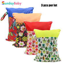 3 pcs waterproof pul fabric baby nappy bag and splice pattern cloth diaper wet bag reusable wet dry bag with zipper