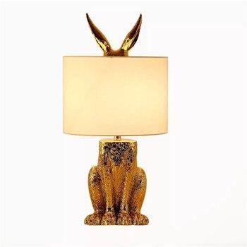 Promotie Tafel Lampen Stof Lampenkap Night Lights Lamp Gold Animal Design Eenvoudige Lezen Little Nachtlampje Hars Tafel Lampen