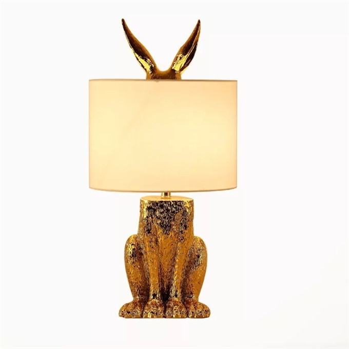 Promotion Table Lamps Fabric Lampshade Night Lights Lamp Gold Animal Design Simple Reading Little Night Light Resin Table Lamps