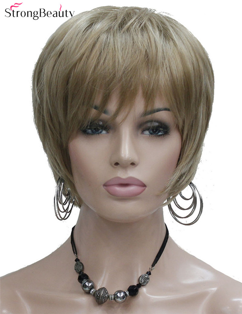 Strong Beauty Synthetic Short Straight 3 Colors Wigs Heat Resistant Hair For Women