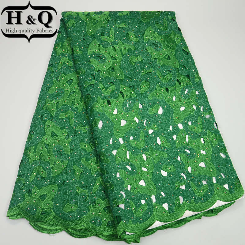 2017 Latest High Quality African French Lace Fabrics green Hot drilling Double color big flower Nigerian