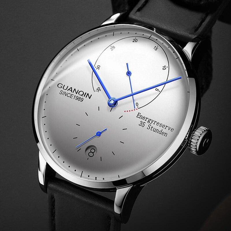 GUANQIN Méchanique Montre Affaires Hommes Top Marque De Luxe Lumineux 316L-Bracelet en acier inoxydable Hommes Montres Automatiques Horloge Dorée