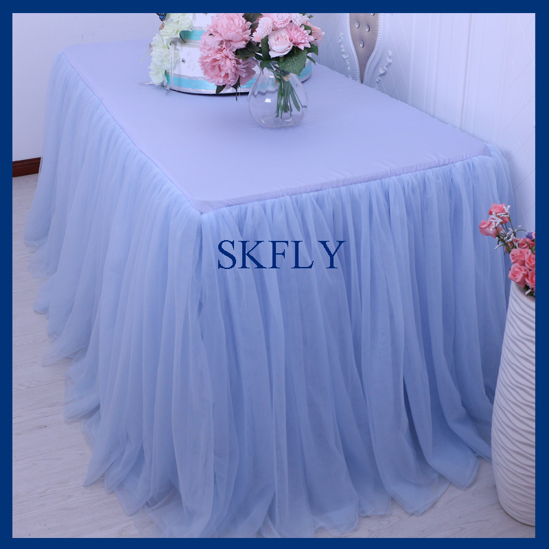 SK005G SKFLY Standard 6ft Rectangle Banquet Elegant Puffy Tutu Wedding Light  Blue Tulle Table Skirt In Tablecloths From Home U0026 Garden On Aliexpress.com  ...