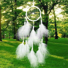 White DreamCatcher Handmade Dream Catcher Net With Feathers Wall Car Hanging Decoration Decor Craft Best Gift for Friends