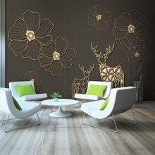 Custom 3d wallpaper modern minimalist gold line flower plum TV background wall - silk waterproof material