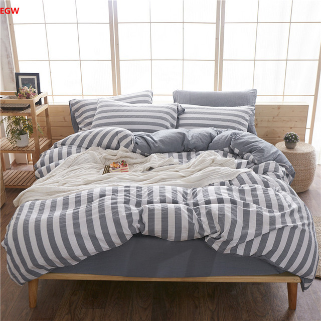 Home Textile Red Grid Bedding Set Black Queen Duvet Cover Blue Stripe Bed  Sheet Wash Polyesteru0026cotton