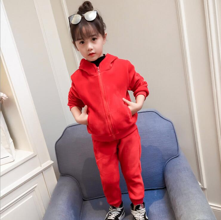 Children clothing 2017 best selling autumn and winter new girls wizard tip hairball hat plus velvet suit two-piece baby children s clothing boys and girls set sweater autumn winter warm new fashion gold velvet leisure sports two piece a8888