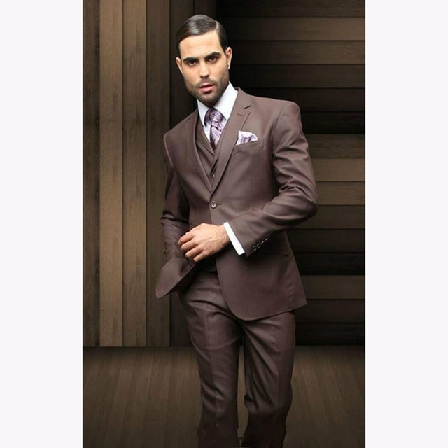 Top Selling Custom high quality incision lapel brown mens suit 2017 ...