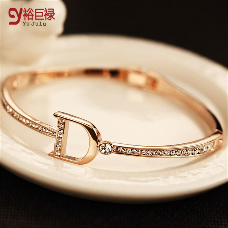 brand bracelets for women fashion big female plated with exquisite luxury Gold Bracelet extravagant brand letter D bracelets luxury brand love bracelets