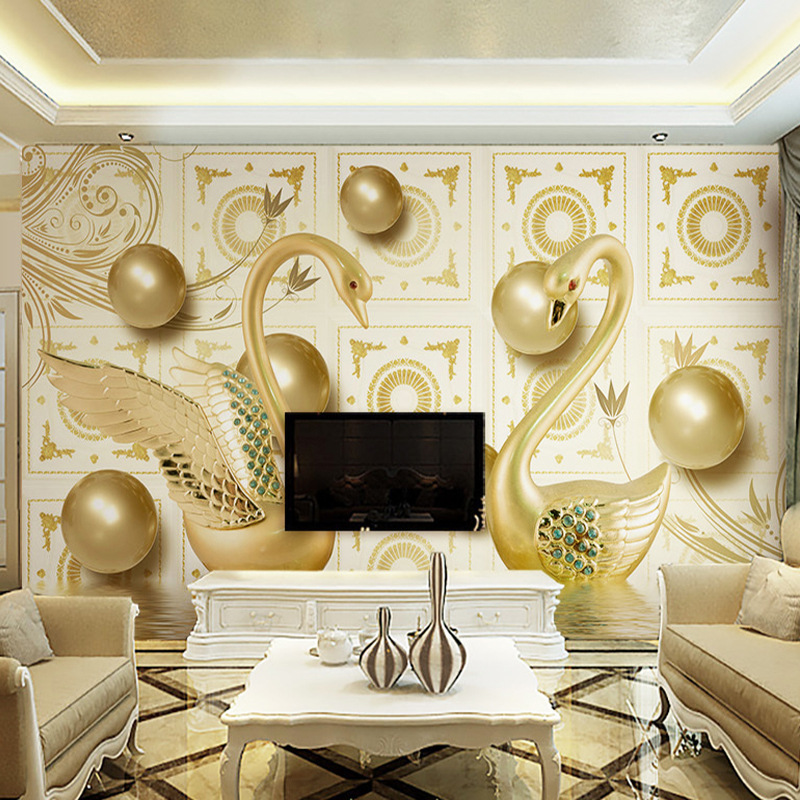 Custom Wallpaper Murals 3D Stereoscopic Gold Ball Swan Luxury European Style Living Room TV Background Wall Mural De Parede 3D custom baby wallpaper snow white and the seven dwarfs bedroom for the children s room mural backdrop stereoscopic 3d