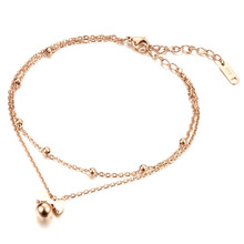 Stainless Steel Anklets Rose Gold Plated Delicate Bowknot Women Classical Double Layer Fashion Jewelry Bracelet Cute Lovely