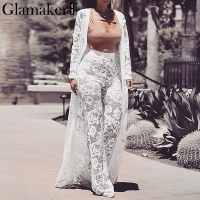 Glamaker White lace floral 3 set sexy jumpsuit Women strapless sash long playsuit Party winter outwear jumpsuit romper plus size
